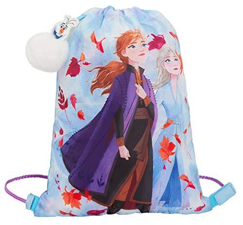 Disney Frozen 2 Turnbeutel mit Kordelzug, Elsa Anna und Olaf Schlüsselanhänger, blau (Blau) - LBAMZMPN1534