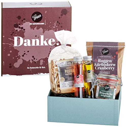 Gepp's Feinkost Geschenkbox Danke I Tolles Geschenk zum Geburtstag oder um einfach Danke zu sagen I Geschenkset mit köstlichen Delikatessen, hergestellt nach eigener Rezeptur (A0005)