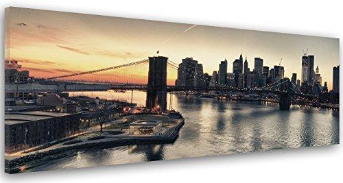 Feeby Frames Cuadro en Lienzo, Cuadro Impresión, Cuadro Decoración, Canvas de una Pieza, 50x150 cm, Puente DE Brooklyn, New York City, Ciudad, Edificios, Rascacielos, Arquitectura, Agua, Vista, Negro