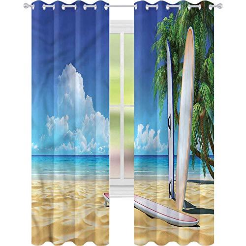 Cortina de ventana para tabla de surf tropical sobre arena Océano W52 x L72 cortina de oscurecimiento para sala de estar