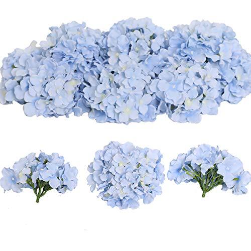 Tifuly 12 Stück künstliche Hortensien Köpfe mit Stielen, Flauschige große Rispenhortensie gefälschte Blumen für DIY Blumenarrangements, Hochzeitsfeier Home Office Dekor, Herzstück(Himmelblau)