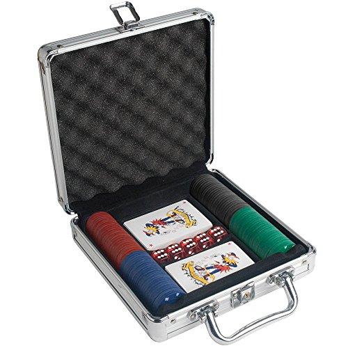 Mister Patch Set da Poker in Valigetta di Alluminio con Chiavi 100 fiches e 2 mazzi di Carte Gioco Texas Hold'em e 5 Dadi B14