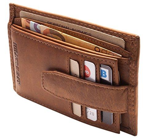 Hill Burry schlanke Leder Geldbörse | Slim Portemonnaie aus echtem Leder | Geldbeutel mit Münzfach | Mini Wallet - Kartenetui (Braun)