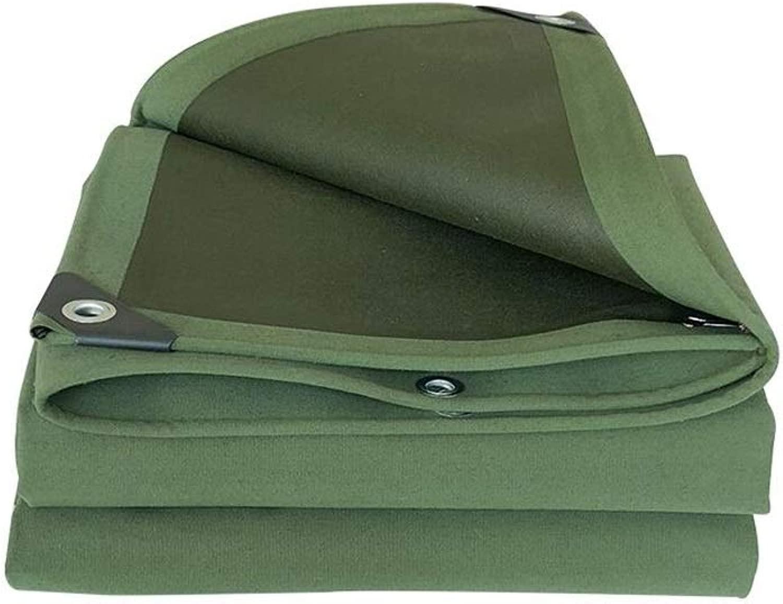 ZX タープ 防水 ターポリン アウトドア 厚い 耐摩耗性 キャンバス 防雨布 日焼け止めサンシェード オーニング生地 テント アウトドア (Color : 緑, Size : 6x7m)