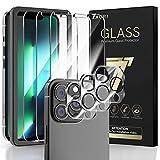 TAURI 3+3 Pack Protector de Pantalla iPhone 13 Pro, 3 Pack HD Ultrafino Cristal Templado y 3 Pack Protector de Lente de cámara, Dureza 9H, Sin Burbujas,Alta sensibilidad,Marco de Posicionamiento