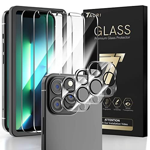 TAURI 6 Stück Schutzfolie Kompatibel mit iPhone 13 Pro 5G 6.1 Zoll 3 Stück Panzerfolie & 3 Stück Kamera Panzerglas Klar HD 9H Festigkeit Folie Blasenfreie Bildschirmschutzfolie mit Positionshilfe