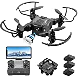4DRC Mini Drone with 720p Camera for Kids and Adults, FPV Drone Beginners RC Foldable Live Video Quadcopter,App Control,3D Flips and Headless Mode,One Key Return,Altitude Hold,3 Modular Battery