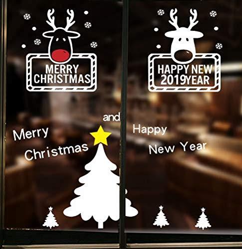 vinilos de pared decorativos Feliz año nuevo 2019, pegatinas de pared, dormitorio, escaparate, decoración del hogar, vinilo, feliz Navidad, copos de nieve, pegatinas de pared, arte mural de bricolaje