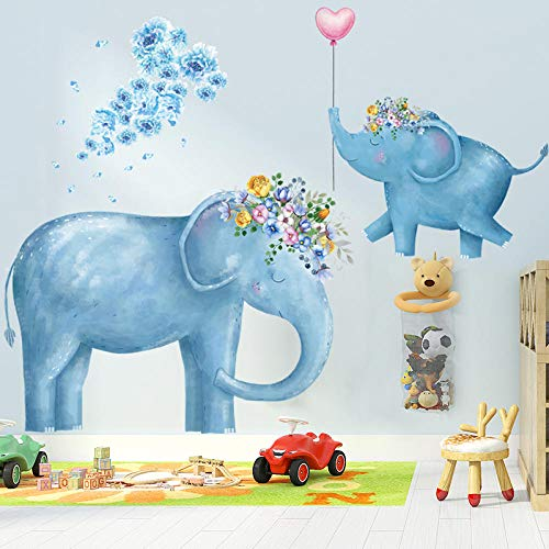 Cartoon Blue Elephant With Garland Wall Decal Warm Wall Paper For Kids Room Cute Animal Self Adhesive Wall Sticker Home Decor
