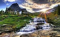 大人と家族のための大人のための200ピースパズルパズル教育活動家の装飾美しい風景、滝、日光
