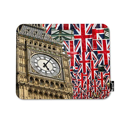 Mugod Union Jack Flags and Big Ben Mouse Pad Big Ben and Flag of The United Kingdom in London City Decor Gaming Mouse Pad Rectangle Non-Slip Rubber Mousepad for Computers Laptop 7.9x9.5 Inches