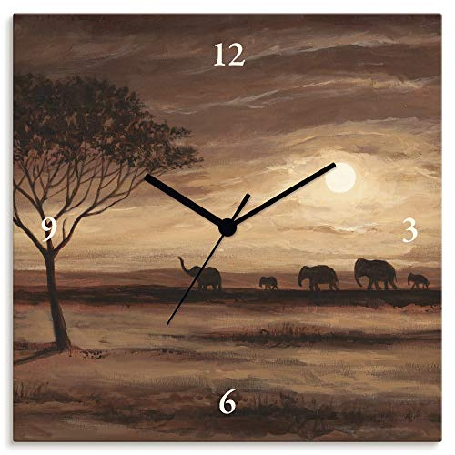 Artland Wanduhr ohne Tickgeräusche Leinwanduhr Quarzuhr lautlos Quadratisch 30x30 cm Design Natur Landschaft Afrika Elefant Sonne Savanne Braun T9QX
