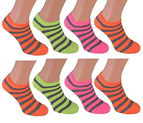 cocain 8 Paar Sneaker Socken Marke Füsslinge Söckchen für Damen - 6 verschiedene Modelle - Grössen 35 36 37 38 39 40 41 42 wählbar, In Neon Farben, 39-42
