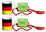 Diverse 2 x Fan-Becher Deutschland Mini-Tasse XL 6cm zum Umhängen Fanartikel WM EM