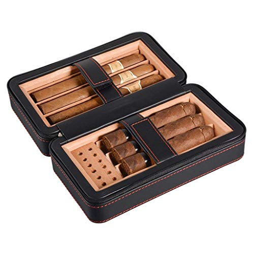 CLJ-LJ 6 paquetes de superficie de cuero forro de madera de cedro importado con humidificador temperatura y humedad constantes viajes humidor portable de los hombres de espesamiento de regalo caja ble