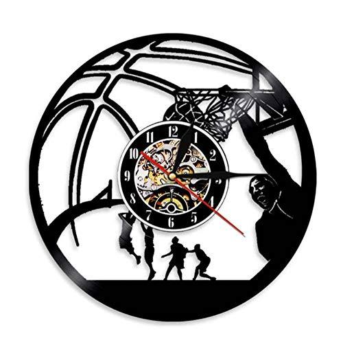 OLB&VNM Basketball-Spieler Slam Dunk Einhand Jam Clock Vintage Schallplatte Wanduhr Basketball Jump Slam Dunk Shot Sport Dekor