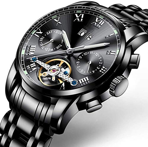 RYH Vestido Reloj mecánico automático para Hombre, clásico Esqueleto mecánico Reloj Impermeable Reloj de Acero Inoxidable con Pulsera de Anillo de Cadena
