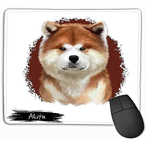 Mauspad Akita-Zucht-Digital-Kunst lokalisierte weiße nette inländische reinrassige Tier-große Zucht-Hundamerikaner-Akita-Akita-Zucht-Rechteck-GummiMousepad 30X25CM