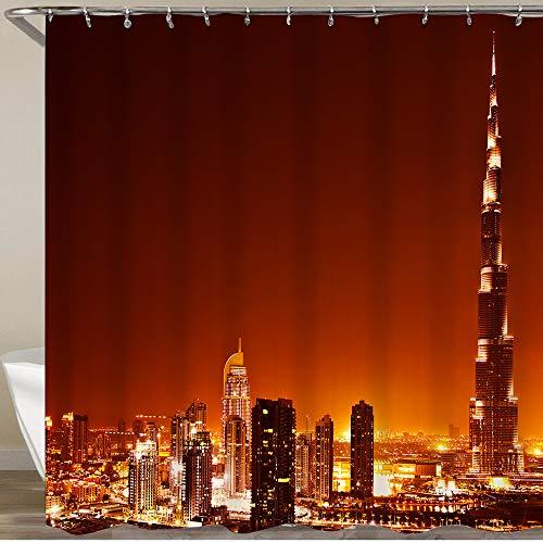 GLONLY Duschvorhänge Dubai,Vereinigte Arabische Emirate Der Burj Khalifa ist der höchste Turm der Welt Bad Vorhang Stoff mit 12 Haken