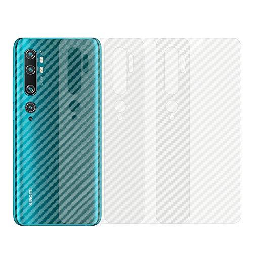 qichenlu [Carbon Muster] 4 Stück Rückseite Folie für Xiaomi Mi Note 10 Pro, Folie Hinten für Mi Note 10 Pro,Klar Matt Klebefolie Kratzfest Hinten Schutz