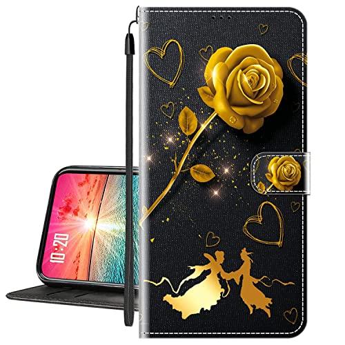 Hülle für LG K8 (2017) Handytasche Klappbares Magnetverschluss Lederhülle Flip Etui Standfunktion Schutzhülle LG K8 2017 Hülle Leder Brieftasche(Goldene Rose) MEHRWEG