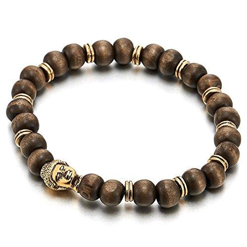 COOLSTEELANDBEYOND 8mm Braccialetto di Perline con Colore Oro Budda Charms, Bracciale da Uomo Donna, Legno Fascino Tibetan Bead Prayer Mala