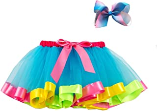 Zhengpin. Girls Layered Ballet Tulle Rainbow Tutu Skirt Dress Up with Colorful Hair Bows