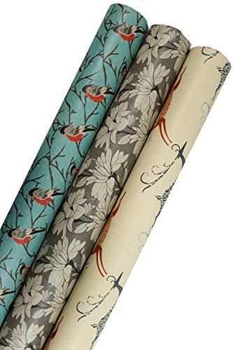 Printed Kraft Wrapping Paper (Elegant Snow Birds-Deer-Ice Flowers on Brown Kraft) 30'x15 Feet, 112.5 Square Feet Total