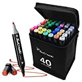 40 Colors Marker Pens Set Dual Tip Colored Artist Markers Professional for Art Sketch Coloring Books Painting Manga and...