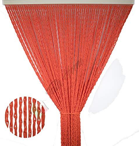 Tata Home Tenda Antimosche per Porta Finestra Moschiera a Pannello Modello Lily con Corda Colorata Intrecciata a Catenella Misura 100 x 220 cm Colore Arancio