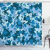 ABAKUHAUS Duschvorhang, Blau Töne Militärische Camouflage Armee Tarnung Dunkel Blau Grau & Töne Digitales Druck, Blickdicht aus Stoff inkl. 12 Ringe für Das Badezimmer Waschbar, 175 X 200 cm