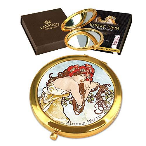 CARMANI - Plaqué Or Bronze poche, compact, Voyage, Miroir décoré avec de la peinture de Mucha 'Été'