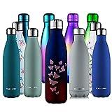 CMXING Bottiglia Acqua, 500ml/ 750ml Doppia Parete Acciaio Inox Sottovuoto Coibentato Bottiglia Termica, Sport Borracce Thermos (Blu + Rosso, 500ML)