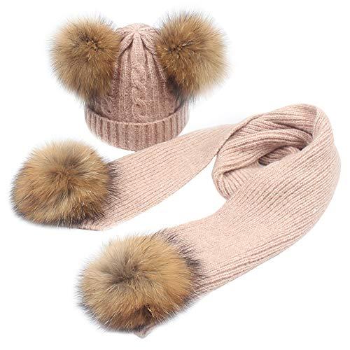 MAGIMODAC Mädchen Jungen Strick Mütze Beanie Wolle Schal Wollmütze Bommelmütze Winterschal Kombi Set Kinder mit Echtfell (A-Hellrosa, Einheitsgröße)