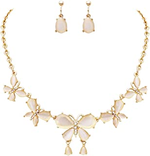 Rosemarie Collections Women's Beautiful Statement Resin and Crystal Butterflies Collar Necklace and Clip on Earrings Set