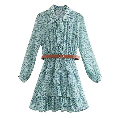 Vestido de verano con estampado de leopardo para mujer, con volantes en cascada, dobladillo plisado y manga de linterna (color: verde, tamaño: L)