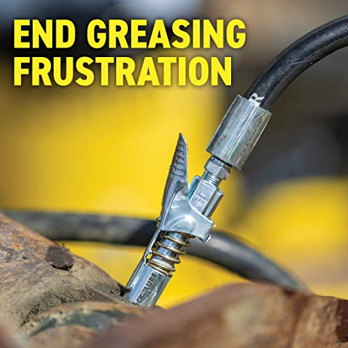LockNLube Grease Gun Coupler locks onto Zerk fittings. Grease goes in, not on the machine. World's best-selling original locking grease coupler. Rated 10,000 PSI. Long-lasting rebuildable tool.