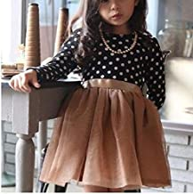 Kids Clothing Dot Pattern Long Sleeve Dress Tutu Child Girl Party Costume, Height:130cm(White Shirt+ Black Skirt) Boys Clothing (Color : Black Shirt+Gold Skirt)