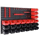 Deuba Wandregal mit Stapelboxen und Werkzeughalter 43 tlg Box Erweiterbar Werkstattregal...