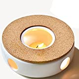 TAMUME Classic Porcelain Teapot Warmer with Safe-to-Use Cork Stand for Teapot, Tea Warmer Stand with Candle Room, Tealight Holder, Ideal for Glass Teapot, Porcelain Teapot and Ceramic Teapot (White)