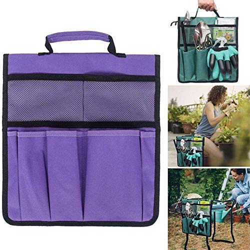 NMSLL Garden Kneeler Tool Bags, Gardening Cart Flatbed Tool Storage Bag 12.2 * 11.8 '' para Garden Kneeler 3 en 1 (Púrpura)