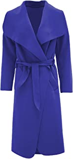 Women Ladies Celb Long Sleeve Wrapped up Draped Belted Coat Cape Sz 8-16