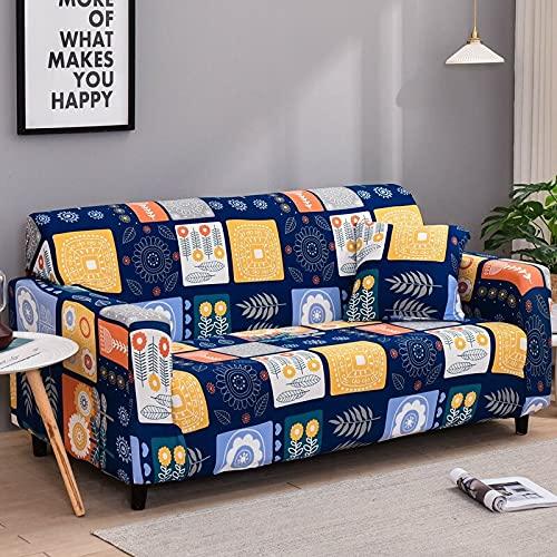 Funda de sofá con Estampado geométrico nórdico Four Seasons Funda elástica a Cuadros Tight Wrap Funda de sofá elástica Universal A21 4 plazas