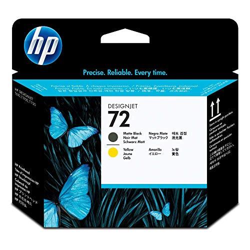 HP 72 Originaler DesignJet Druckkopf (C9384A) in Mattschwarz & Gelb, für HP DesignJet T2300 eMFP, T1300, T1200, T1120, T1100, T1100 MFP, T795, T790, T770, T620, T610 & T600 Großformatdrucker