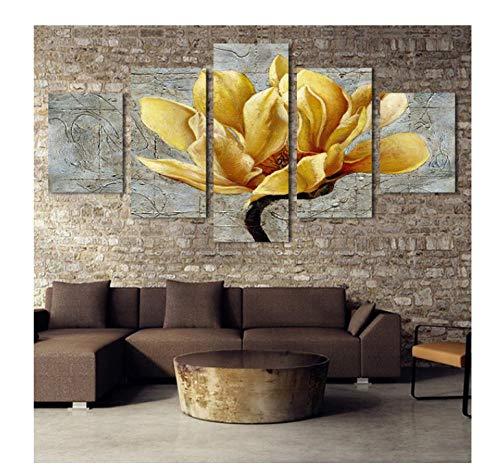 Poster Stampe su tela 5 pezzi Decorazioni per la casa Immagini su tela Immagini da parete HD 5 Pannello Dipinti di fiori Stampe Poster Modulari per soggiorno12x20inx2,12x28inx2,12x32inx1