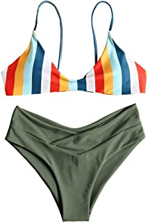 Women's Striped High Leg Cami Bikini Set
