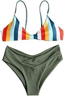 ZAFUL Women`s Striped High Leg Cami Bikini Set
