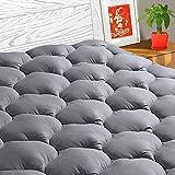 TEXARTIST Mattress Pad Cover Queen, Cooling Mattress Topper, Plush Pillow Top (Queen, Grey)