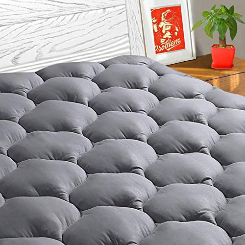 TEXARTIST Queen Mattress Pad Cover Cooling Mattress Topper Pillow Top Mattress Cover Quilted Fitted Mattress Protector with 8-21 Inch Deep Pocket(Queen, Grey)