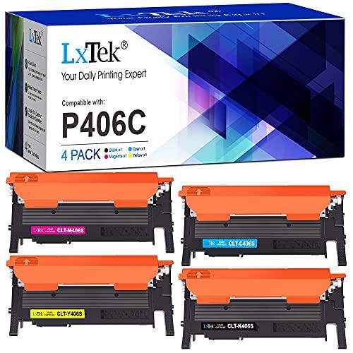 LxTek CLT-P406C Compatibile Cartucce di Toner Sostituzione per Samsung 406S per Xpress C460FW C410W C460 CLP-365 CLP-365W CLP-360 CLX-3305 CLX-3305FW (Nero Ciano Magenta Giallo, 4-Pack)